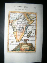 Mallet 1683 Antique Hand Col Map. Abissinie. Africa Continent